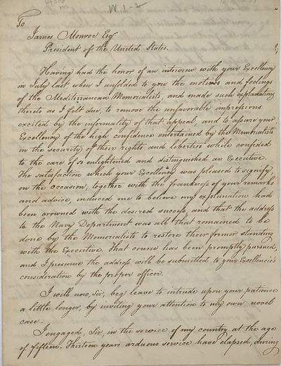 (Washington City, 1818. 4to. Three-pages, approximately 600 words; the Monroe response approximately...