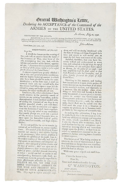 : Published for General Information, 1798. Letterpress broadside, approx. 18 x 11 inches. Expert res...