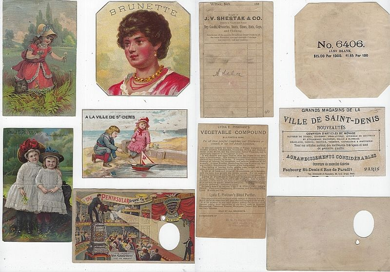 LOT OF FIVE SCRAP VICTORIAN TRADE CARDS CHILDREN, JUMBO THE ELEPHANT, Advertisement
