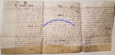 """(1615 ENGLISH DOCUMENT). DS. 1pg. 15 ½"""" x 7 ½"""". 1615. England. A vellum deed signed """"Walter ..."""