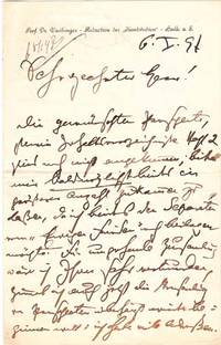"Autograph letter signed; ""H Vaihinger,"" to a ""Sehr geehrter Herr,"" January 6,..."