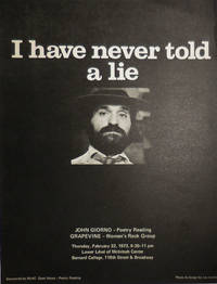 image of I Have Never Told A Lie (Poetry Reading Announcement Flyer)