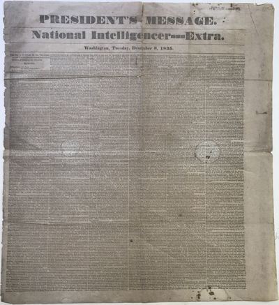 Washington, : National Intelligencer--Extra, 1835. Large folio broadsheet, six columns on the recto ...