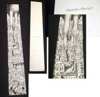 "Original Charles Fazzino Artwork for ""Manhattan Moonlight"", black and White Pen & ink with Wash Gray Tones Maquette"