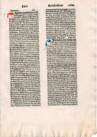 image of THE BOOK OF ISAIAH. A LEAF FROM A BIBLIA LATINA, PRINTED BY ANTON KOBERGER IN NUREMBERG IN 1479.