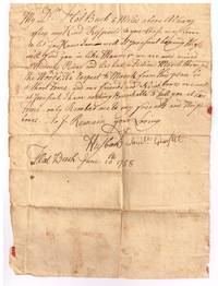 French and Indian War soldier\'s stampless autographed letter signed letter Flat Bush June 10, 1758