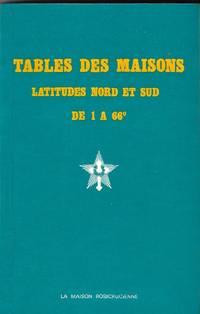 Tables des maisons, latitudes nord et sud de 1 à 66°