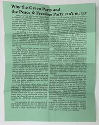 image of Why the Green Party and the Peace and Freedom Party can't merge [handbill]