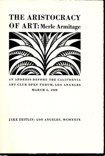 The Aristocracy of Art. An address...