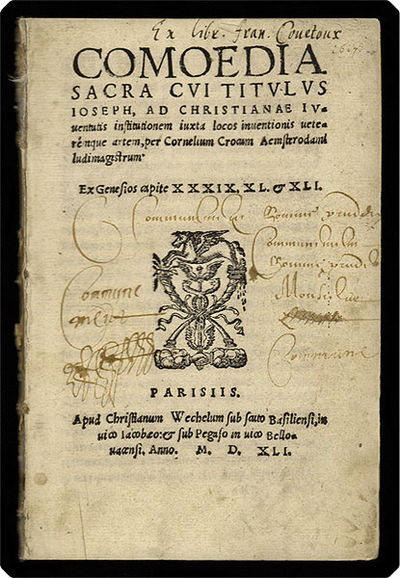 Parisiis: Apud Christianum Wechelum, 1541. 8vo (14.8 cm, 5.82��). 62 pp. This successful Christian p...