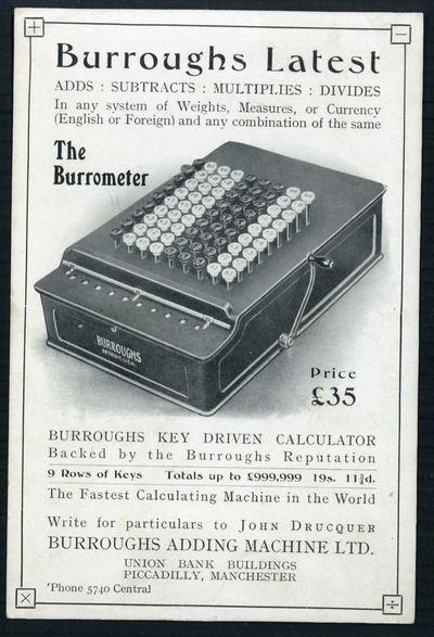 Burroughs Adding Machine Company.] Burroughs Adding Machine Ltd. Burroughs latest . . . the Burromet...