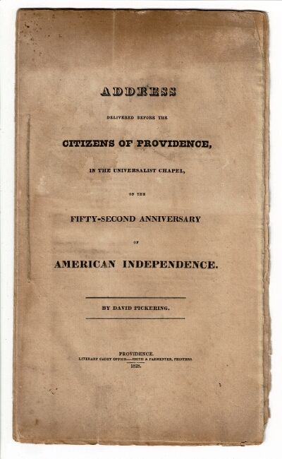 Providence: Literary Cadet Office - Smith & Parmenter, printers, 1828. First edition, 8vo, pp. 24; s...