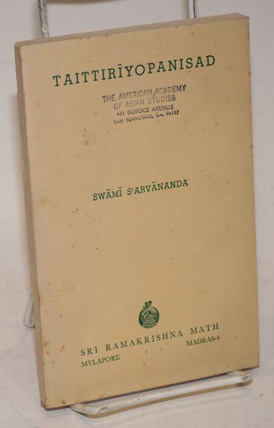 Mylapore, Madras: Sri Ramakrishna Math, 1958. 168p., buff wraps titled in spring green, with rubbers...