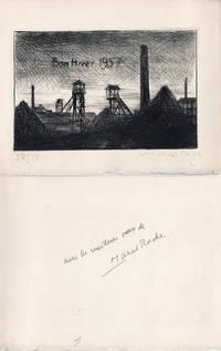 Marcel Roche : carte de voeux pour 1957 et gravure Originale