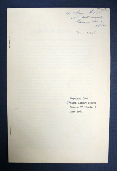 (n.p.): Reprinted from Nineteenth Century Fiction, 1971. Inscribed. Printed wrappers. VG+.. 19 pp, 8...
