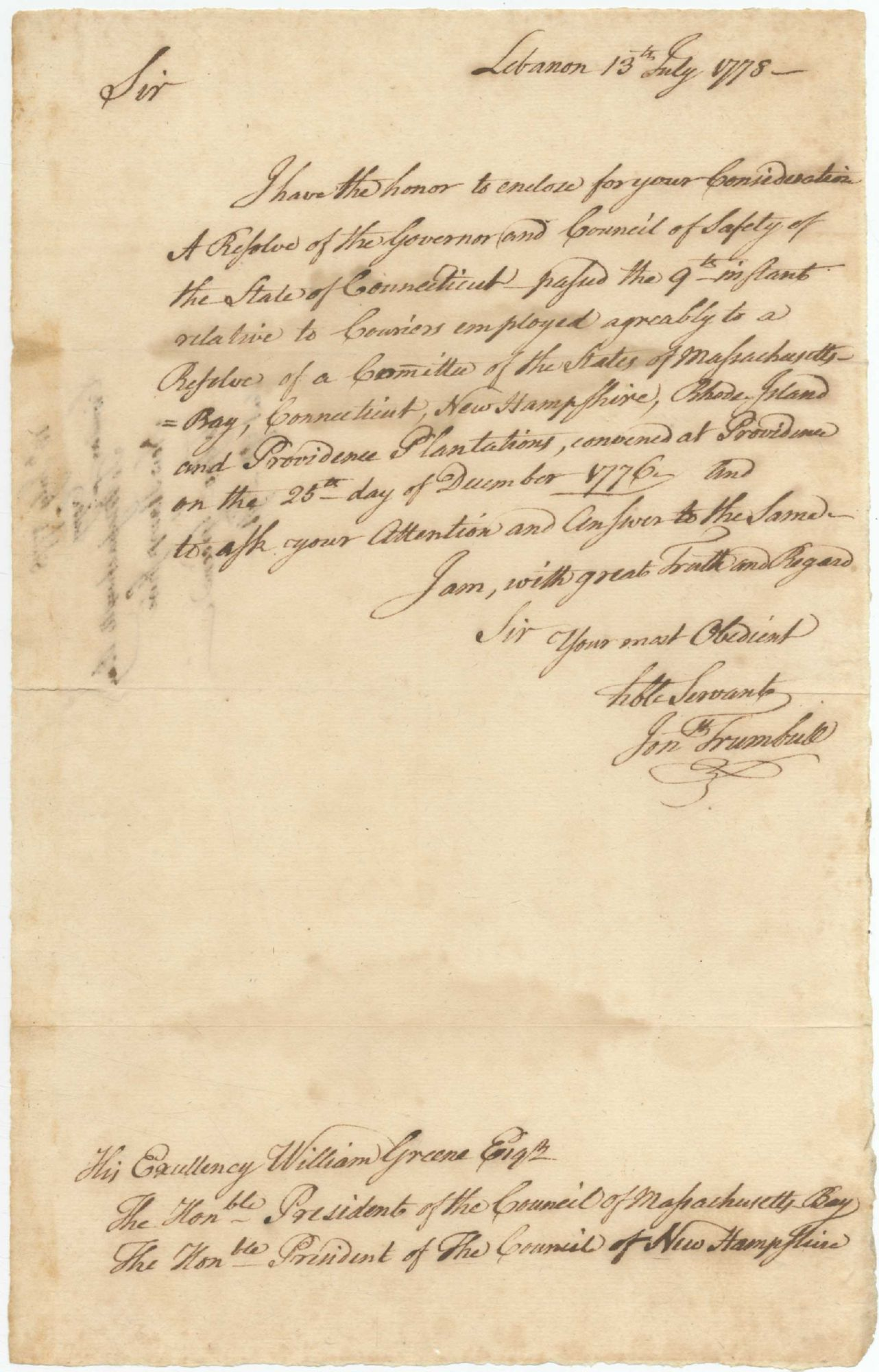 massachusetts circular letter autograph circular letter signed by trumbull to the 23587