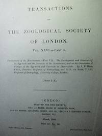 Transactions of the Zoological Society of London Vol.XXVI - Development of the Monotremata (Platypus & Echidna)