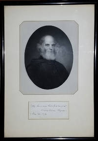 image of Signed Portrait, William Cullen Bryant with line of verse from 'A Forest Hymn'