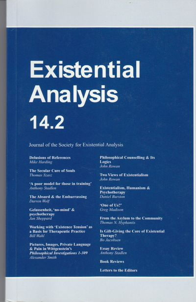 London: Society for Existential Analysis. 2003. First Printing. Softcover. Wraps, a fine copy of thi...