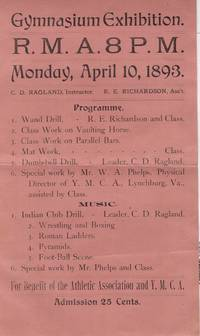 1893 YMCA Handbill: Gymnasium Exhibition, RMA 8pm: Lynchburg, Virginia