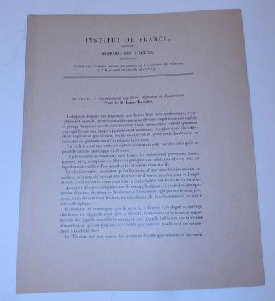 : Comptes redus des seances de l'Academie des Sciences, 1922. First Separate Edition. Wraps. Near Fi...