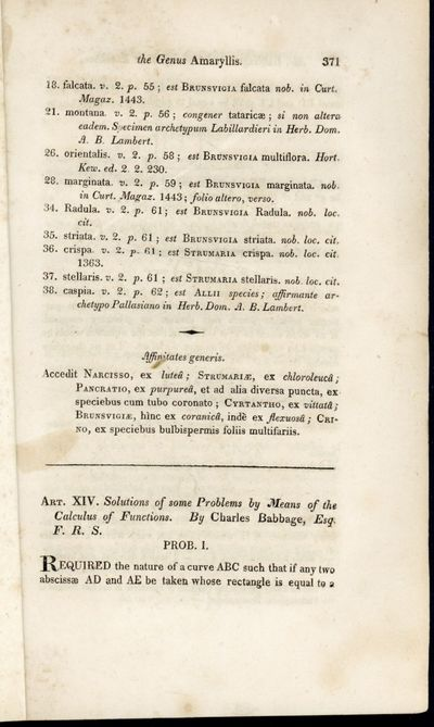 1817. Babbage, Charles. Solutions of some problems by means of the calculus of functions. Extract fr...