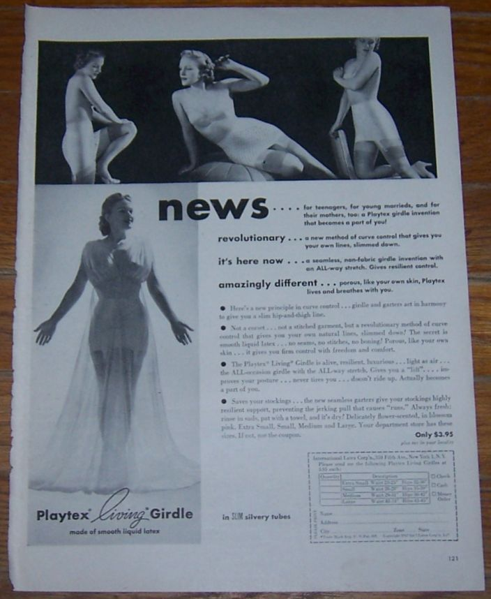 Image for 1947 PLAYTEX LIVING GIRDLE MAGAZINE ADVERTISMENT