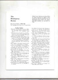 The Hemingway Review / Five-Year Index (1981 - '86) / Plus Hemingway notes Index (1971 -...