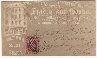 Boston: American Tract Society, 1860. Unbound. Very good. This all-over advertising envelope feature...
