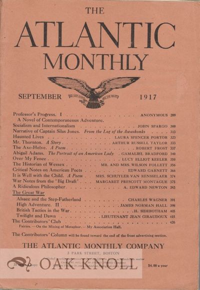 Boston: The Atlantic Monthly, 1917. paper wrappers. tall 8vo. paper wrappers. pp.382-390. In the Atl...