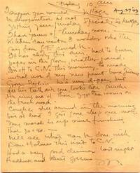 """ALS. 1pg. 8"""" x 10"""". August 27, 1943. Village . An autograph letter signed """"W"""" to his wife: �..."""