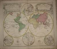 (World Map): Planiglobii terrestris mappa universalis utrumq hemisphærium orient. et occidentale repræsentans ex IV mappis generalibus (Mappe-monde qui represente les deux hemispheres savoir celui de l'orient et celui de l'occident ... by Homann Heirs (Johann Matthias Hase;  G M Lowitz) - 1746 - from The Prime Meridian: Antique Maps & Books and Biblio.com