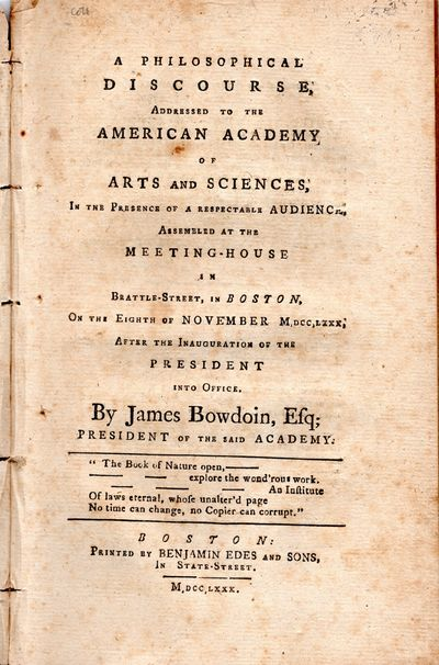 35 pp. Removed from a bound volume. Founded in 1780 by Bowdoin, Adams, and Hancock, the Academy beca...