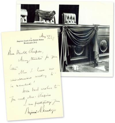 1937. Cardozo Can't Recall Any Memories Worth Sharing . Cardozo, Benjamin N. . . . Single 7-3/4