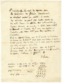 """Important autograph document signed """"H. Berlioz"""" detailing costs for the first performance of the Requiem, op. 5, ca. 1837"""