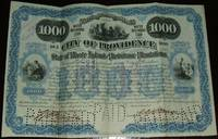 image of A Beautifully Engraved, Signed $1000 Water Refunding Bond from the City of  Providence Rhode Island