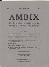 image of Ambix. The Journal of the Society for the History of Alchemy and Early Chemistry Vol. XXVII, No. 3. November, 1980