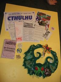CTHULHU GROUPING: Encyclopedia Cthulhiana  / Cthulhu for President 1992 / Cthulhu Christmas Wreath / Cthulhu Shotglass  & Pinback Buttons ( ( H P Lovecraft / Cthulhu Mythos related) book includes: History of the Necronomicon )