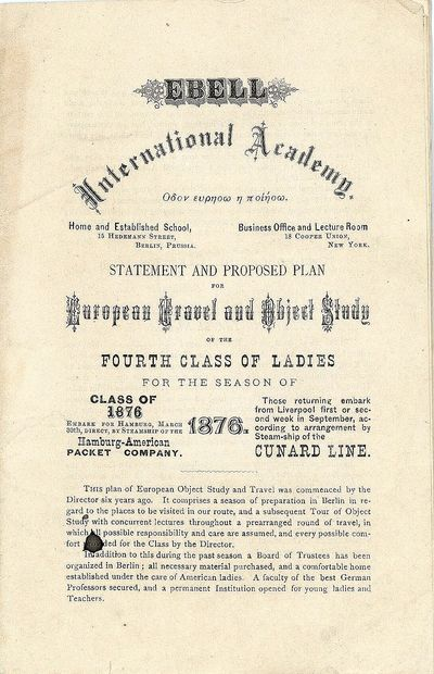 New York, NY: Ebell International Academy Journal , December 1875. 24pp booklet beginning with the p...