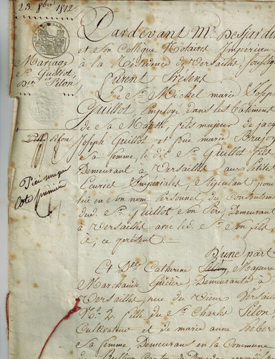 Versailles, France, 1812. Eight pages of text on parchment, handwritten in French of the period. dat...