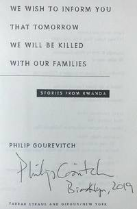 WE WISH TO INFORM YOU THAT TOMORROW WE WILL BE KILLED WITH OUR FAMILIES (SIGNED & BROOKLYN)