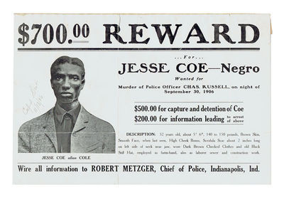 Indianapolis, IN: N.P., 1906. Original lithographed wanted poster, with text and photographic portra...