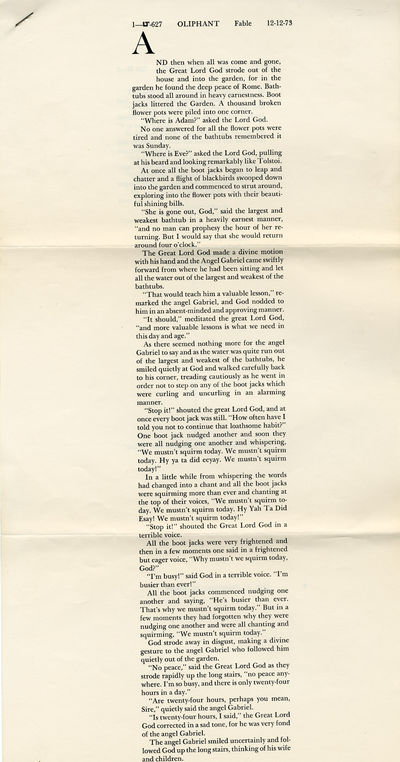 [ New York: Aloe Editions, 1974. Two folded folio sheets. Fine. Uncorrected galley proofs for the fi...