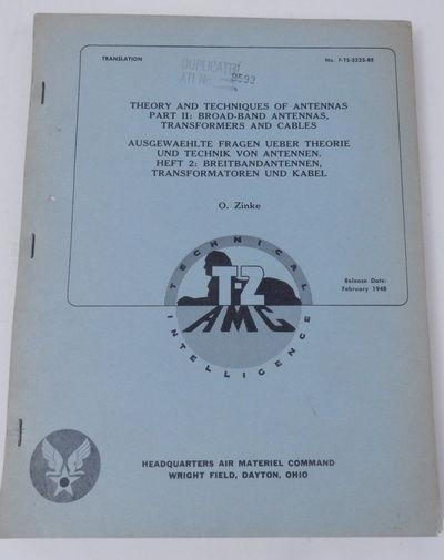 Wright Field, Dayton Ohio: Headquarters Air Materiel Command, 1948. First English Language Edition. ...