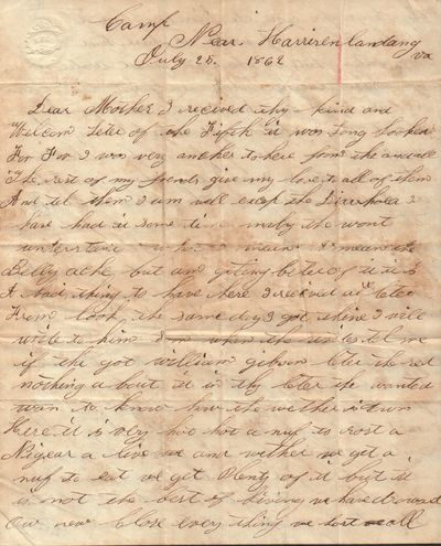 Good. Manuscript letter written by Private Owen Jones while camped at Harrison's Landing during the ...