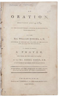 An Oration, delivered July 4, 1789, at the Presbyterian Church in Arch Street, Philadelphia ... Published at the Request of the Pennsylvania Society of the Cincinnati