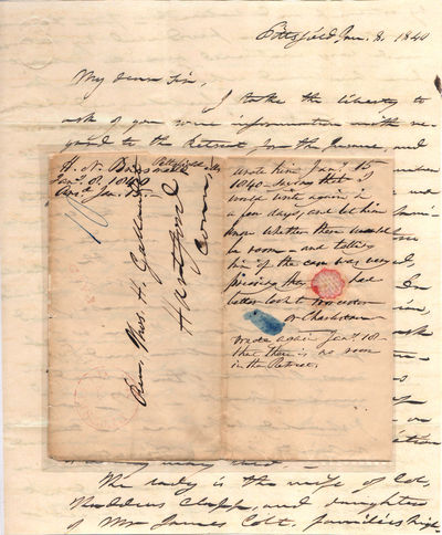 Pittsfield, Massachusetts, 1840. Unbound. Very good. This four-page folded letter measures 16
