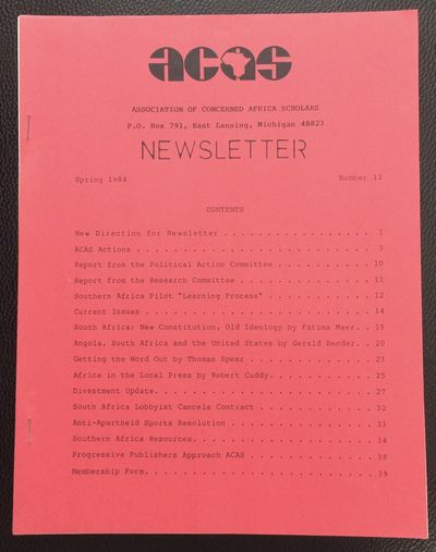 East Lansing, MI: ACAS, 1984. 39p., 8.5x11 inch staplebound newsletter, blank rear cover loose but p...