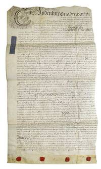 Manuscript quadrupartite indenture on parchment related to a marriage settlement