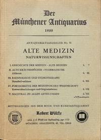 Der Münchener Antiquarius, 1955. Antiquariatsanzeiger Nr. 11: Alte  Medizin, Naturwissenschaften.